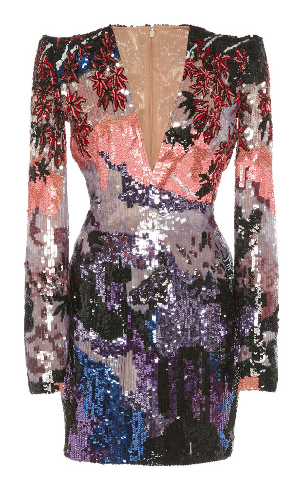 Zuhair Murad Sequin Embroidered Tulle Mini Dress in multi