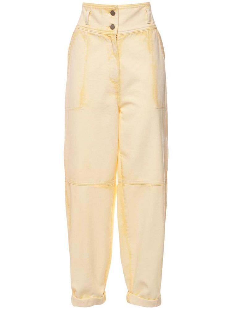 ALBERTA FERRETTI Cotton Denim Wide Leg Jeans in yellow