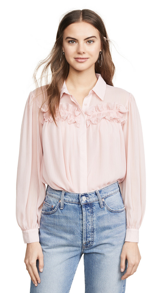 endless rose Chiffon Button Down Top in pink