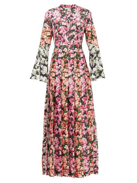 Mary Katrantzou - Desmine Pleated Floral-print Twill Maxi Dress - Womens - Pink Multi