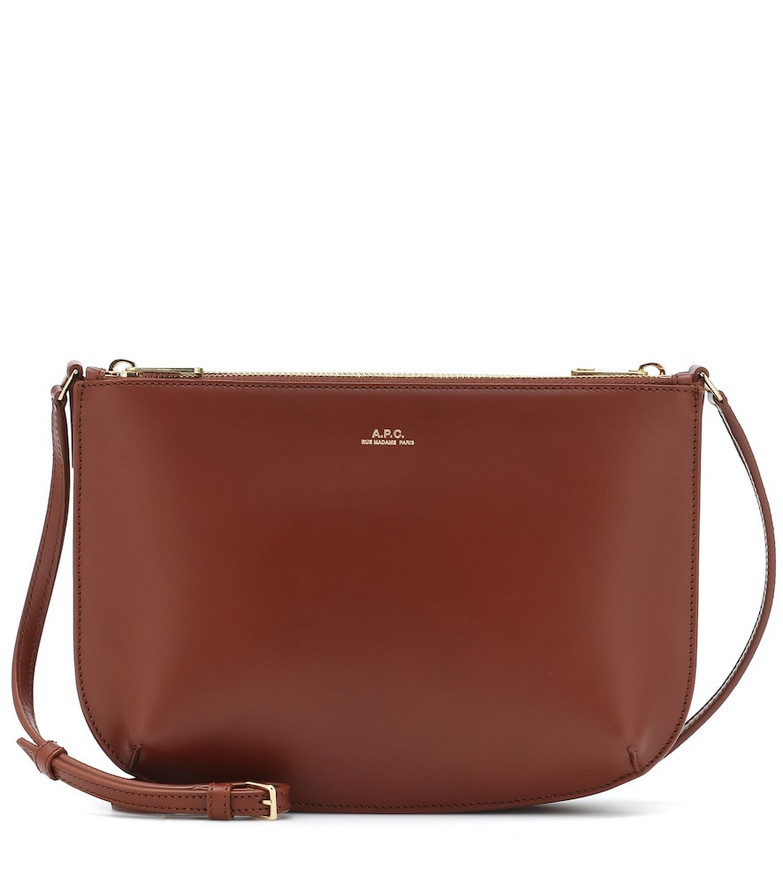 A.P.C. Sarah leather crossbody bag in brown