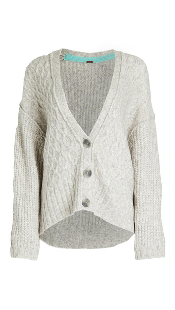 Free People Molly Cable Cardigan in grey