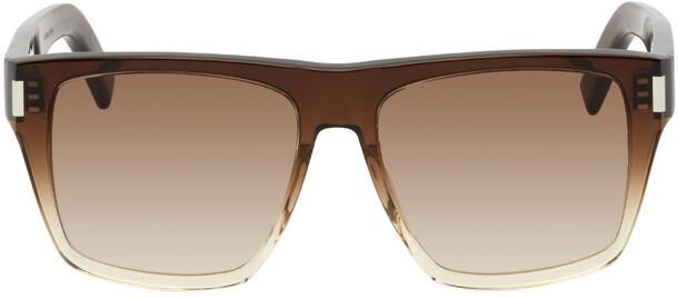 Saint Laurent Brown SL 424 Rectangular Sunglasses