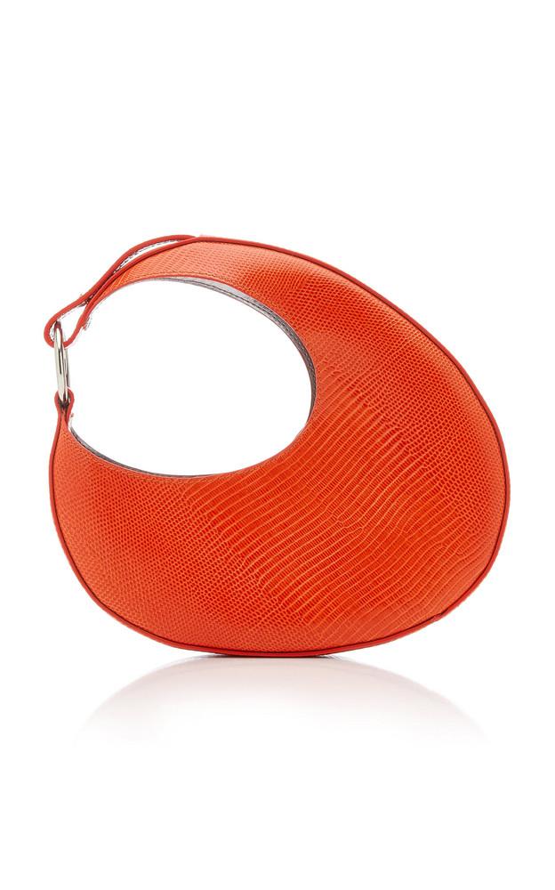 Carolina Santo Domingo Ostra Mini Snake-Effect Leather Top Handle Bag in red
