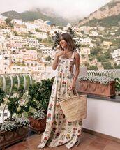 dress,maxi dress,sleeveless dress,woven bag,summer dress