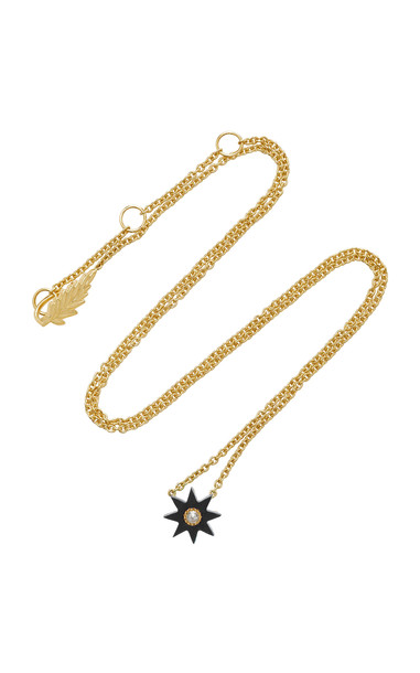 Colette Jewelry Mini Starburst 18K Gold Onyx and Diamond Necklace in black