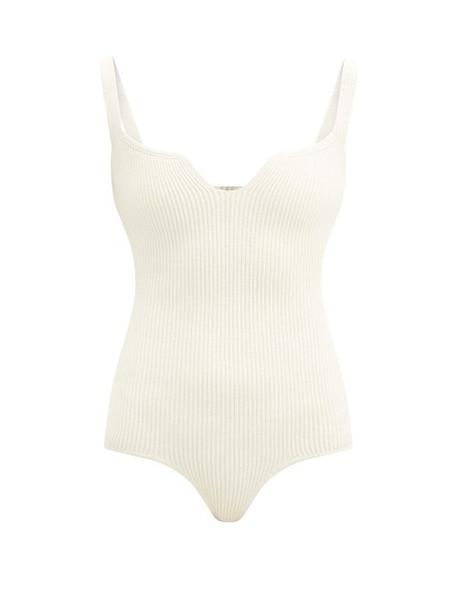 Khaite - Yves Notched-neck Ribbed-knit Bodysuit - Womens - Ivory