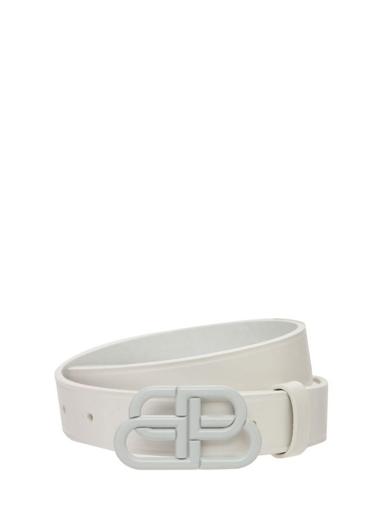 BALENCIAGA 30mm Bb Thin Leather Belt in white
