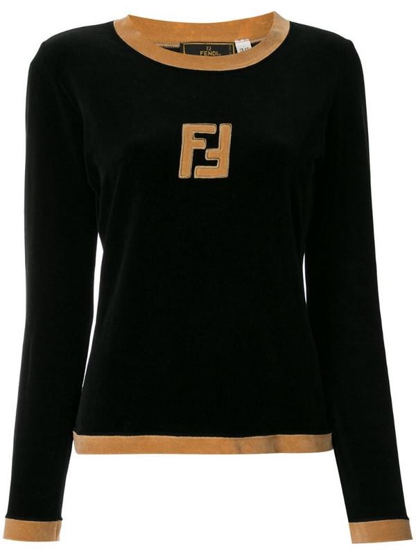 Fendi Pre-Owned logos long sleeve tops in black