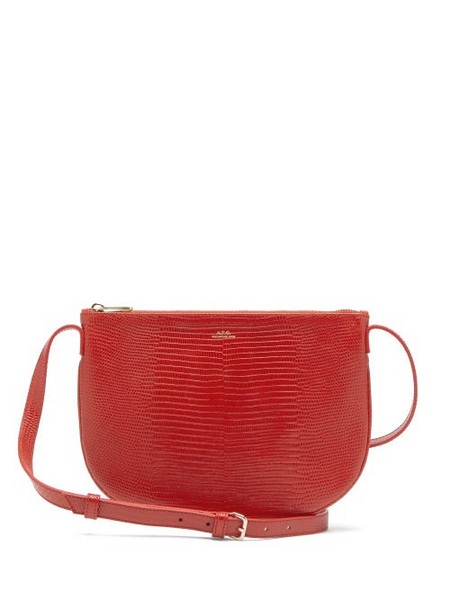 A.P.C. A.p.c. - Maelys Lizard-effect Leather Cross-body Bag - Womens - Red