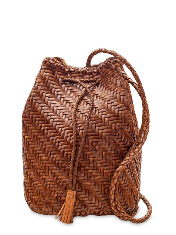 DRAGON DIFFUSION Pompom Doublej Woven Leather Basket Bag in tan