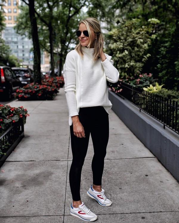 sweater white sweater black leggings sneakers