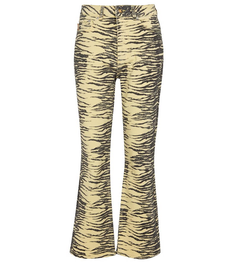 GANNI Tiger-print stretch-cotton flared jeans in black