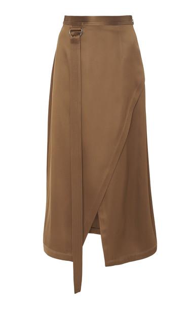 Sally LaPointe Asymmetric Wrap-Effect Satin Midi Skirt in brown