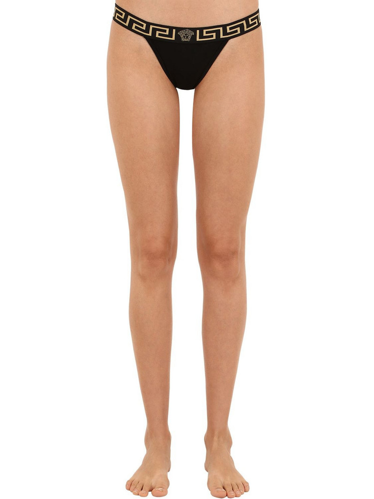 VERSACE Stretch Tech Jersey Thong in black