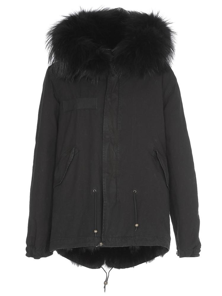 Mr & Mrs Italy Fur Parka in black