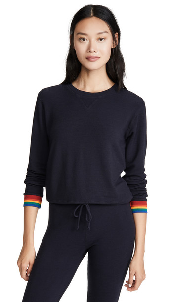 MONROW Crew Neck Sweatshirt with Rainbow Cuffs