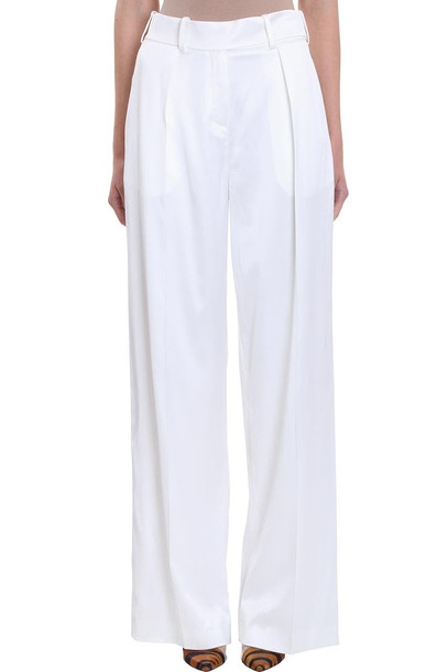Alexandre Vauthier Wide Leg White Satin Pants