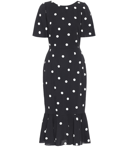 Dolce & Gabbana Polka-dot silk-charmeuse midi dress in black