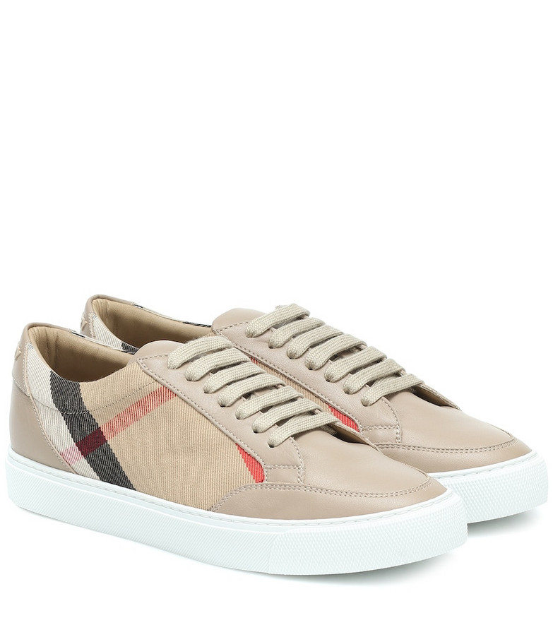 Burberry Salmond leather and cotton sneakers in beige