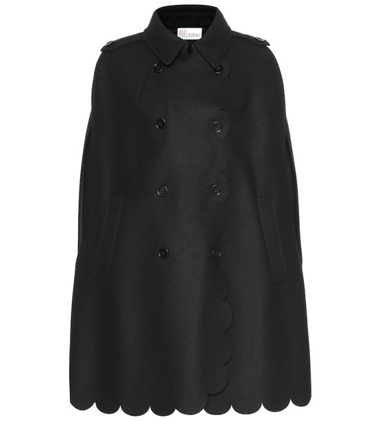 REDValentino Scalloped wool-blend cape in black