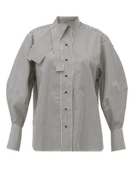 Palmer/harding Palmer//harding - Sara Cotton-blend Neck Tie Shirt - Womens - Black White