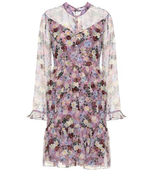 Erdem Danielle floral silk minidress in purple
