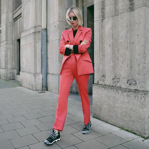 jacket pink blazer double breasted high waisted pants sneakers black sweater