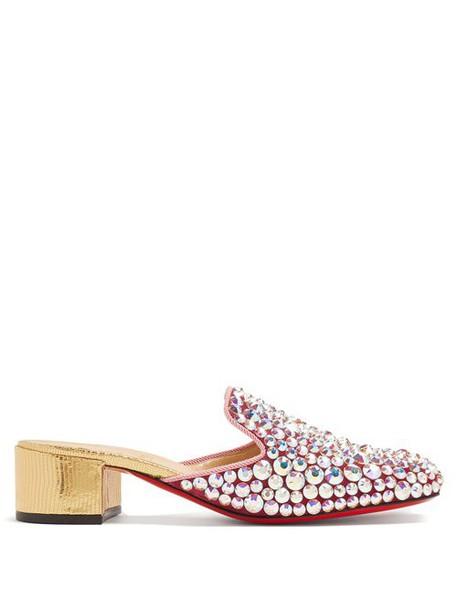 Christian Louboutin - Eltonetta 35 Crystal Embellished Suede Mules - Womens - Pink Multi