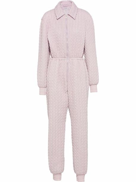 Miu Miu long-sleeve chevron jumpsuit - Pink