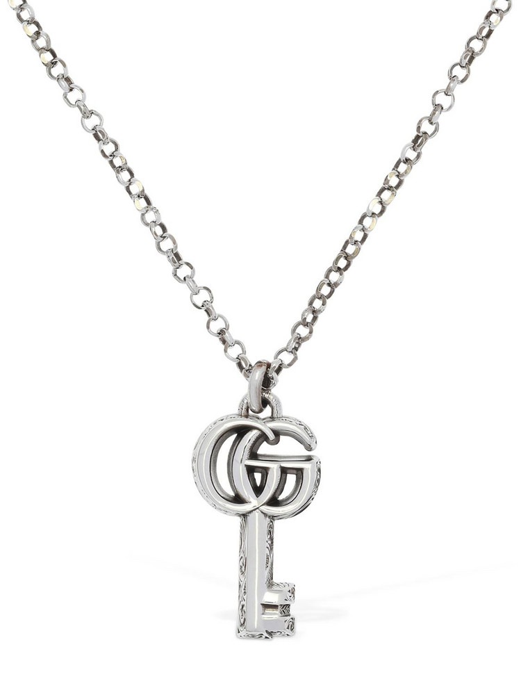 GUCCI 50cm Gg Marmont Key Charm Necklace in silver