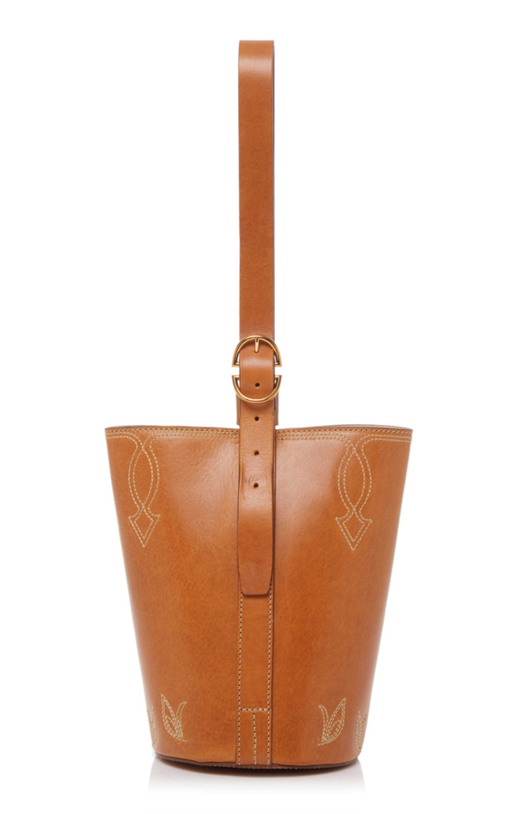 Trademark Small Western Leather Bucket Bag in brown