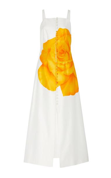 Lela Rose Floral-Print Cotton-Silk Button-Detailed Midi Dress Size: 0 in yellow