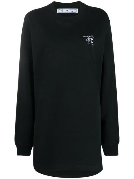 Off-White paper clip Arrows motif sweatshirt dress in black