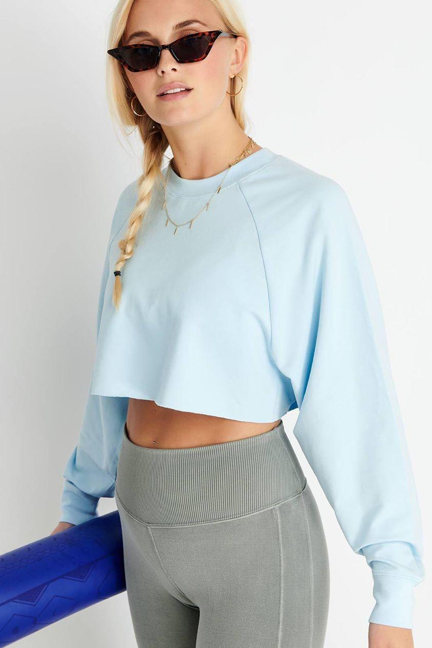 Alo Yoga Double Take Pullover - Powder Blue - S Blue UK S Blue