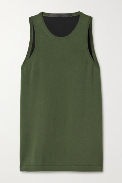 Haider Ackermann - Wool And Silk-satin Tank - Dark green