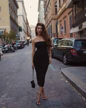 dress,black dress,bodycon dress,sleeveless dress,black sandals,black bag