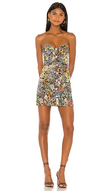 MAJORELLE Dayton Mini Dress in Taupe,Brown,Yellow