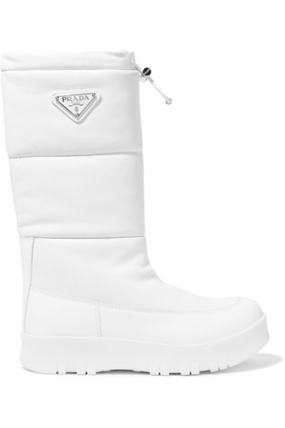 Prada - Logo-appliquéd Quilted Leather Snow Boots - White