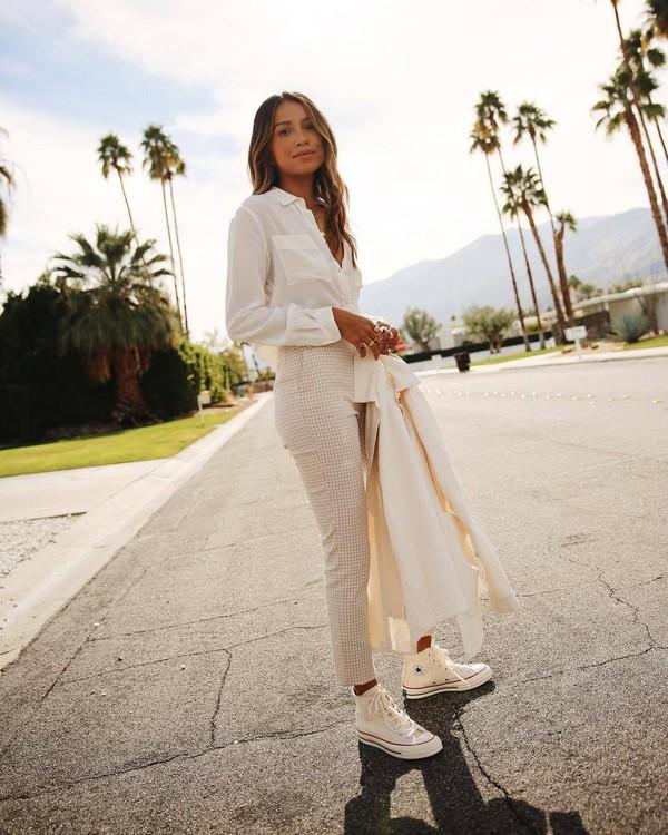 top white shirt plaid skinny pants high waisted pants white pants converse white jacket casual streetwear
