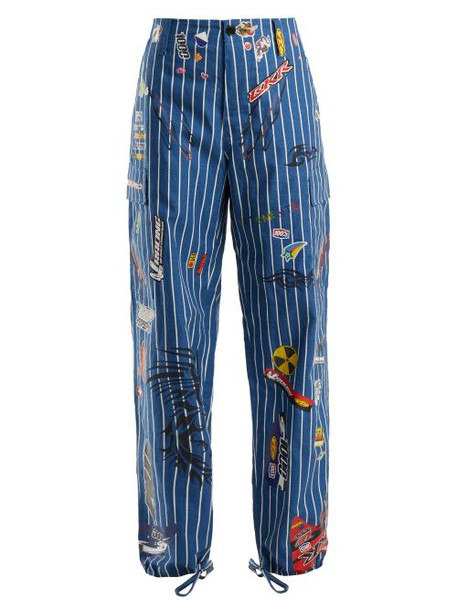 Vetements - Striped Cargo Trousers - Womens - Blue White