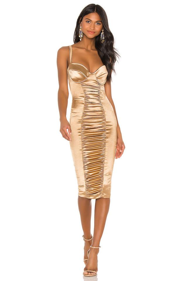Nookie Tease Satin Midi Dress in gold / metallic
