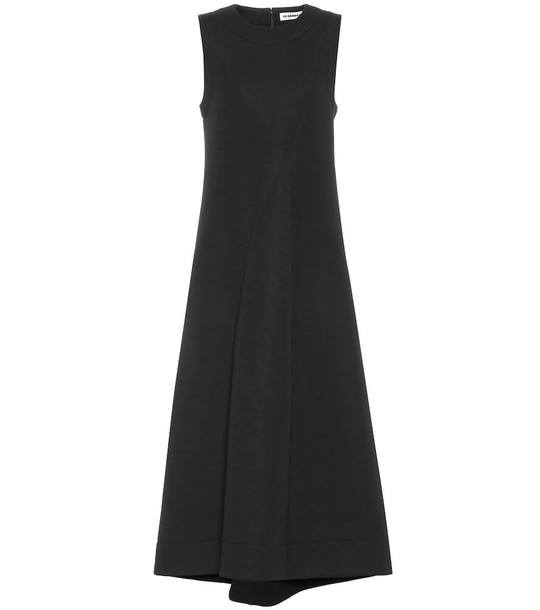 Jil Sander Wool-blend midi dress in black