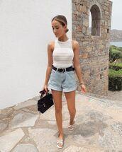 top,white top,tank top,ribbed top,topshop,denim shorts,High waisted shorts,flat sandals,belt,black bag