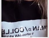 sweater,black white top,logo,long sleeves