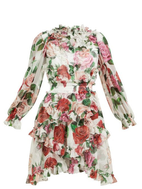Dolce & Gabbana - Rose Print Silk Chiffon Ruffled Mini Dress - Womens - White Multi