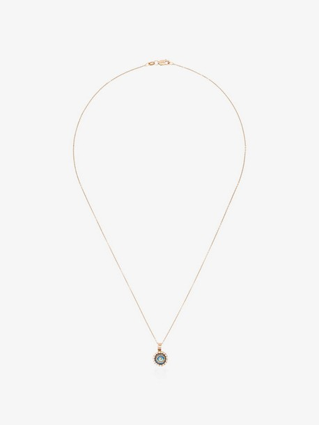 Ileana Makri Iridescent Evil Eye Pendant Necklace in metallic