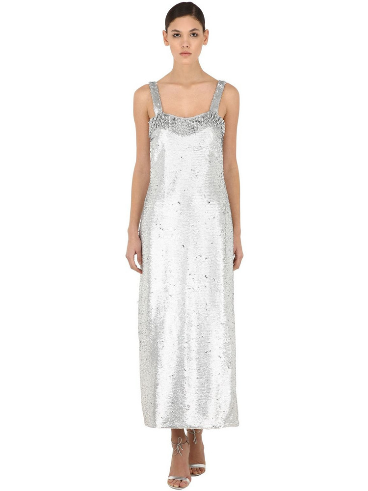 VIVETTA Sequined Maxi Dress W/ Fringes in silver
