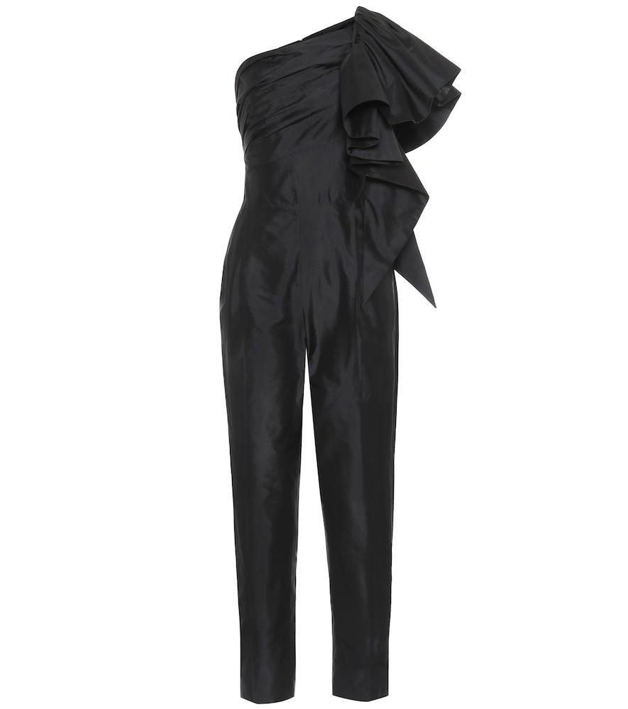 RASARIO Ruffled silk jumpsuit in black