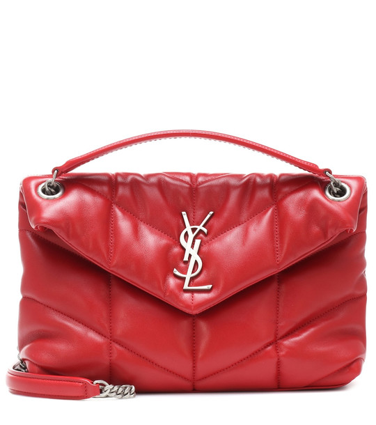 Saint Laurent Loulou Puffer Small shoulder bag in red